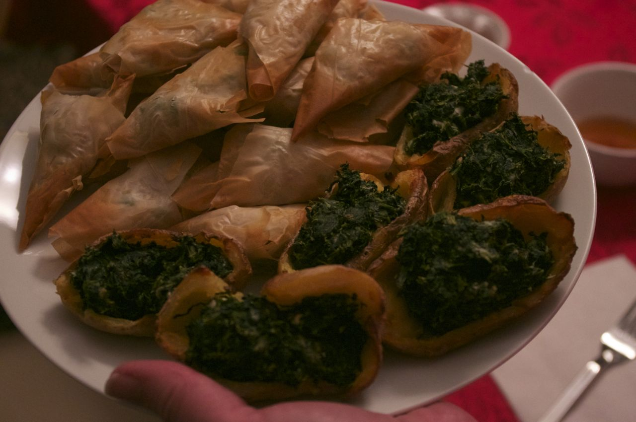 Baked Potato Skins with Spinach and Vegetable Samosas in Phyllo | Bake ...