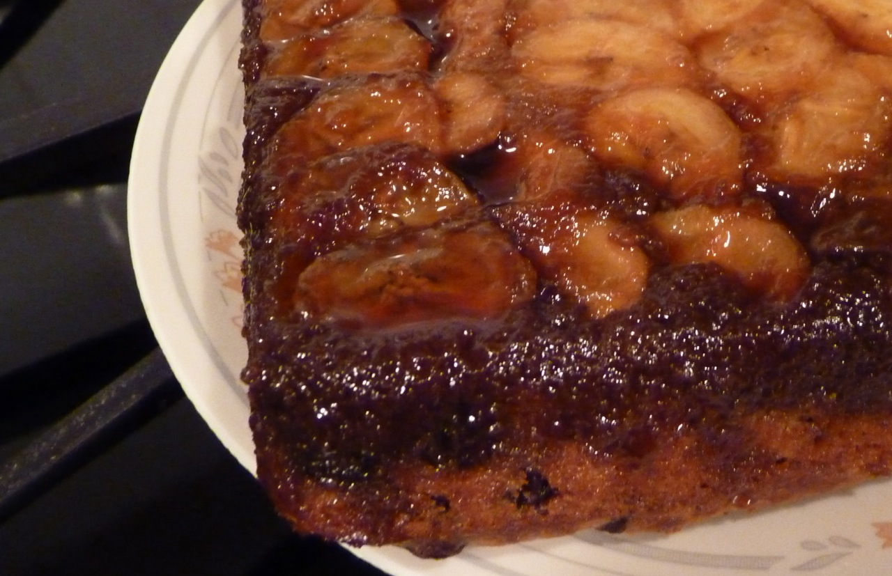 Banana Upside Down Cake With Chocolate Chips Recipe — Dishmaps